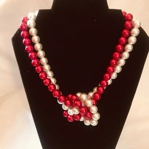Red and White Pearl Necklace